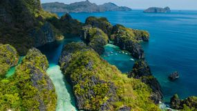 Aerial view of Big Lagoon and Small Lagoon in El Nido, Palawan, The Philippines. Aerial view of Big Lagoon and Small Lagoon in El Nido, Palawan stock photography