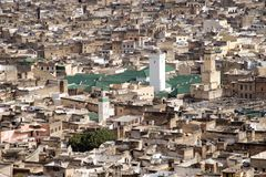 Aerial View of Big Mosque in Fes, Morocco Royalty Free Stock Images