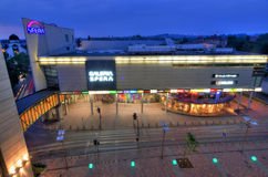 Aerial view for big shopping gallery in city centrum Royalty Free Stock Images