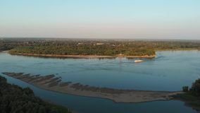 Aerial view of river and boats stock video footage
