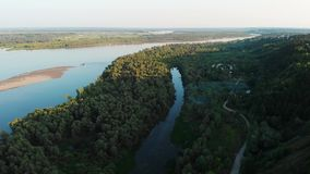 Aerial view of river and boats stock video