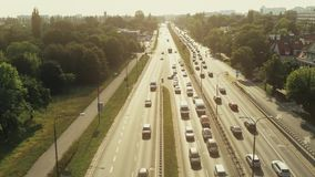 Aerial view of big traffic jam on a sunny day. Aerial view of big traffic jam stock footage