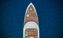Aerial view of big yacht in sea Stock Images