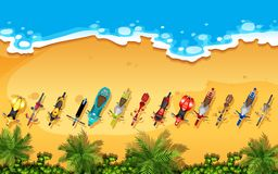Aerial view of bikes on a beach. Illustration vector illustration