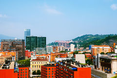 Aerial view of Bilbao, Spain city downtown. Bilbao, Spain. Aerial view of Bilbao, Spain city downtown. Mountain at the background, clear blue sky royalty free stock photo