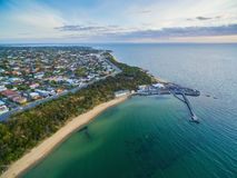 Aerial view of Black Rock suburb, pier, and wharf Melbourne, Aus Stock Photo