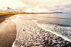 Aerial view of  the black sandy beach of Brimilsvellir. Of Iceland Stock Photos