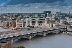 Aerial view of  Blackfriars Railway Bridge in London. Aerial view of north  bank of the river Thames, Blackfriars Railway Bridge  in London Royalty Free Stock Images