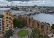 Aerial view of Blackfriars Railway Bridge in London royalty free stock photography
