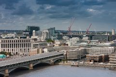 Aerial view of  Blackfriars Railway Bridge in London. Aerial view of north  bank of the river Thames, Blackfriars Railway Bridge in London Stock Photography