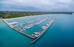 Aerial view of Blairgowrie Marina on Mornington Peninsula, Melbo Stock Images