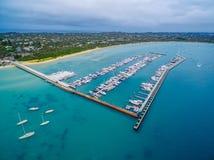 Aerial view of Blairgowrie Marina on Mornington Peninsula, Melbo Royalty Free Stock Image