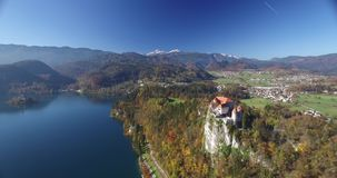 Aerial view of Bled Castle and Bled lake landscape stock video