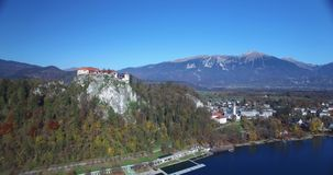 Aerial view of Bled Castle and Bled lake landscape stock video footage