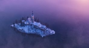 Aerial view of Bled lake in sunrise light. Beautiful island with old church. Slovenia stock image