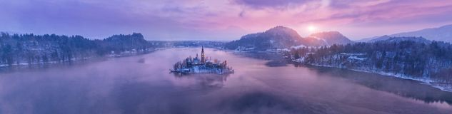Aerial view of Bled lake in sunrise light Royalty Free Stock Image