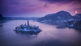 Aerial view of Bled lake in sunrise light Stock Photos