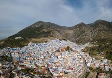Aerial view of blue city Chefchaouen Stock Photos