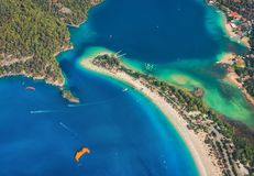 Colorful summer landscape with sea spit, green forest, azure water. Aerial view of Blue Lagoon in Oludeniz, Turkey. Colorful summer landscape with sea spit Royalty Free Stock Photo