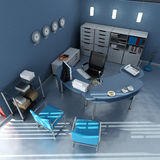 Aerial view of blue modern office. 3D rendering of an office interior in blue and gray shades royalty free stock photos