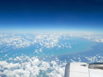 Aerial view of blue ocean and clouds Stock Image