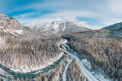 Aerial view of blue river in a winter