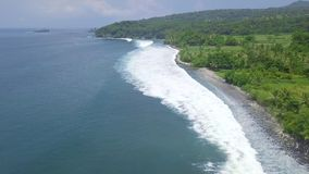 Aerial view blue sea waves and green tropical island landscape. Drone view blue ocean waves and rice paddy fields. Bali. Indonesia stock video
