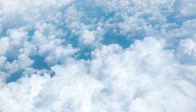 Aerial view of Blue sky and Cloud Top view from airplane window, Royalty Free Stock Images
