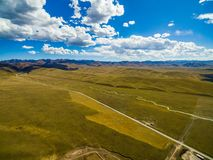 Aerial view of blue sky and white clouds in Gannan, Gansu, China stock photography