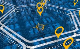 Aerial view of a blue transparent city divided into white hexagonal areas with yellow markings vector illustration