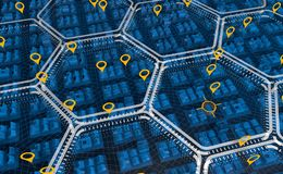 Aerial view of a blue transparent city divided into white hexagonal zones forming a structure with yellow markings royalty free illustration
