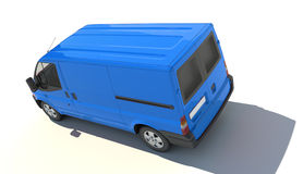 Aerial view of blue van vector illustration