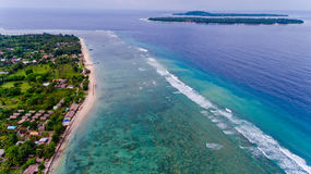 Aerial view of the blue water coast line in Gili Air island. Bali, Indonesia stock images