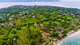 Aerial view of the blue water coast line in Gili Air island. Bali, Indonesia stock photos