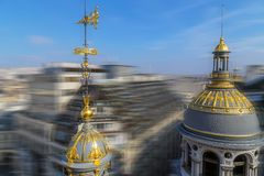 Aerial view in blur motion from the terrace of store Printemps,. Aerial view from the terrace of store Printemps founded in 1865 in Paris - largest beauty Royalty Free Stock Images