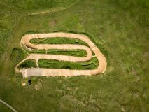 Aerial view of bmx track in park. Ipswich, UK. stock image