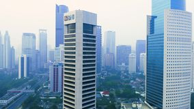 Aerial view of BNI bank office tower stock footage