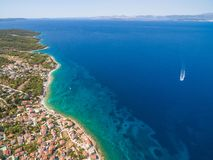 Aerial view of boat in sea Royalty Free Stock Photos