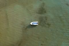 Aerial view, Boat alone in sea at Phuket stock images