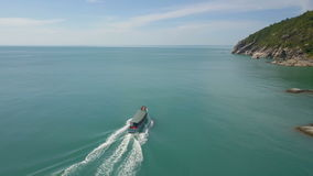 Aerial View of Boat Cruise in Sea stock video