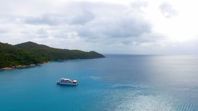 Aerial View Of A Boat In The Ocean 1. Drone Shot Of A Boat In The Indian Ocean, Anse Lazio,Praslin Island, Seychelles stock video