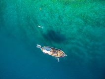 Aerial view of boat in sea Royalty Free Stock Photo