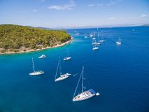 Aerial view of boat in sea Royalty Free Stock Images