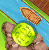 Aerial view of boat in stream Stock Photo