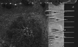 Aerial view of boat trailers stock photography