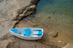 Aerial view of a boat in the water in Andratx port marina in Mallorca balearic islands. Spain Stock Image