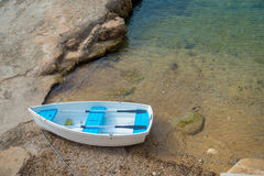 Aerial view of a boat in the water in Andratx port marina in Mallorca balearic islands. Spain Royalty Free Stock Photography