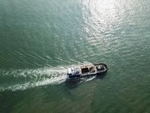 Aerial view of a Boat at West Coast Park, Singapore Stock Images