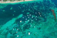 Aerial view of boats in Atlantic ocean Royalty Free Stock Image