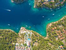 Aerial view of boats in bay Stock Photo